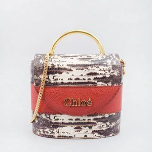 CHLOE SEPIA BROWN SMALL ABYLOCK LIZARD-EMBOSSED TO